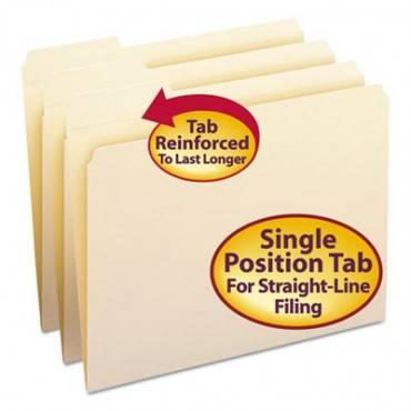 Reinforced Tab Manila File Folders, 1/3-cut Tabs, Left Position, Letter Size, 11 Pt. Manila, 100/box