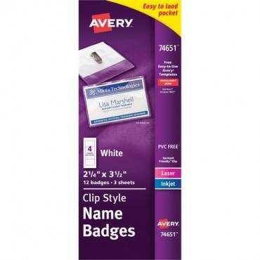 Avery® Clip Style Name Badges (PK/PACKAGE)