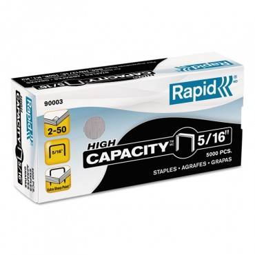"High Capacity Staples, 0.31"" Leg, 0.5"" Crown, Steel, 5,000/box"