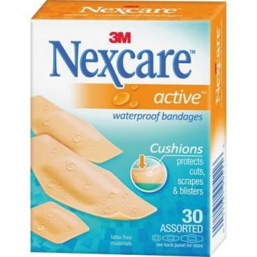 Nexcare™ Active™ Waterproof Bandages, 30 ct. Assorted (BX/BOX)