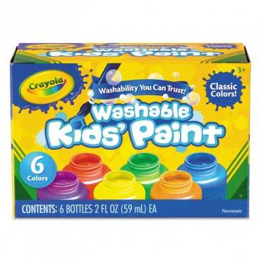 Crayola  WASHABLE PAINT, 6 COLORS, BLUE/GREEN/ORANGE/RED/VIOLET/YELLOW, 2 OZ 541204 1 Each