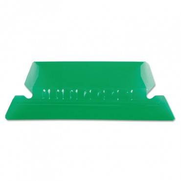 """Transparent Colored Tabs For Hanging File Folders, 1/5-cut Tabs, Green, 2"""" Wide, 25/pack"""