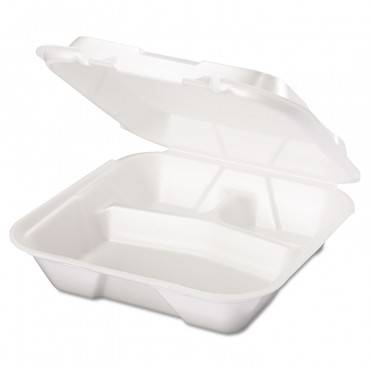 Snap It Foam Container, 3-comp, 9 1/4 X 9 1/4 X 3, White, 100/bag, 2 Bags/carton