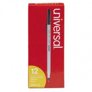 Stick Ballpoint Pen, Medium 1mm, Black Ink, Gray Barrel, Dozen