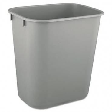 Deskside Plastic Wastebasket, Rectangular, 3.5 Gal, Gray