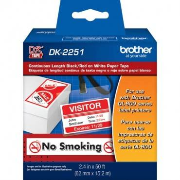 Brother DK2251 - Black/Red on White Continuous Length Paper Labels (RL/ROLL)