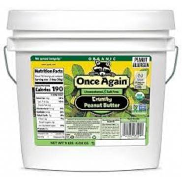 Once Again Organic Peanut Butter Crunchy - No Salt - Case Of 9 - 1 Lb.