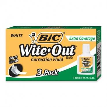BIC Extra Coverage Wite-Out Brand Correction Fluid (BX/BOX)