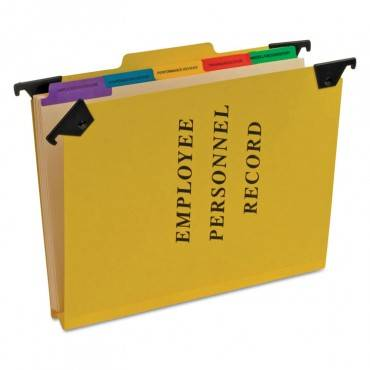 Hanging Style Personnel Folders, 1/3-cut Tabs, Center Position, Letter Size, Yellow
