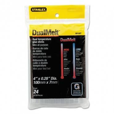 """Dual Temperature Mini Glue Sticks, 0.28"""" X 4"""", Dries Clear, 24/pack"""