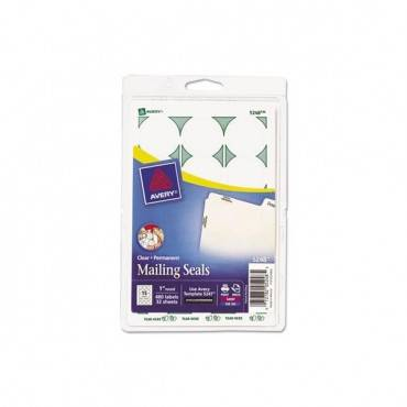 "Printable Mailing Seals, 1"" Dia., Clear, 15/sheet, 32 Sheets/pack"