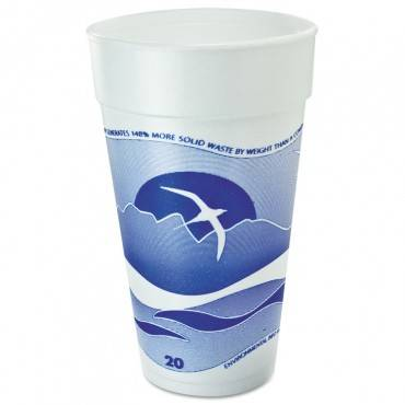 Horizon Foam Cup, Hot/cold, 20oz., Printed, Blueberry/white, 25/bag, 20/ct