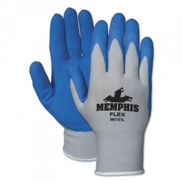 Memphis Flex Seamless Nylon Knit Gloves, Large, Blue/gray, Pair