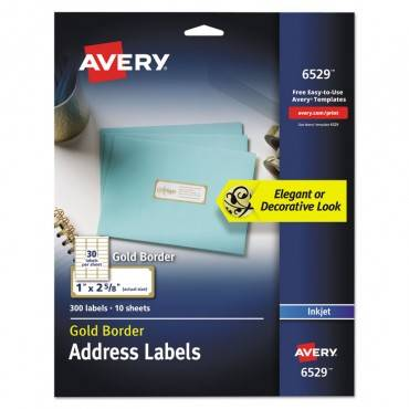 Avery  EASY PEEL ADDRESS LABELS W/ BORDER, GOLD, 1 X 2 5/8, 30/SHEET, 10 SHEET/PACK 06529 300 package