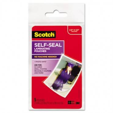 "Self-sealing Laminating Pouches, 9.5 Mil, 2.81"" X 3.75"", Gloss Clear, 5/pack"