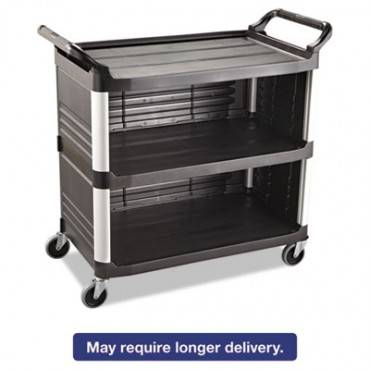 Xtra Utility Cart, 300-lb Capacity, Three-shelf, 20w X 40.63d X 37.8h, Black