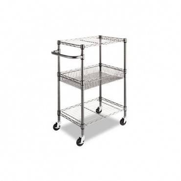Three-tier Wire Cart With Basket, 28w X 16d X 39h, Black Anthracite
