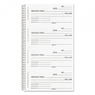 Money And Rent Unnumbered Receipt Book, 5 1/2 X 2 3/4, Two-part, 200 Sets/book