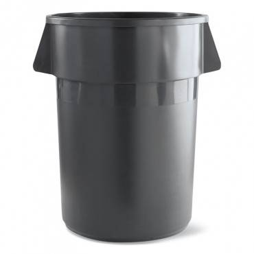 Round Waste Receptacle, Lldpe, 32 Gal, Gray