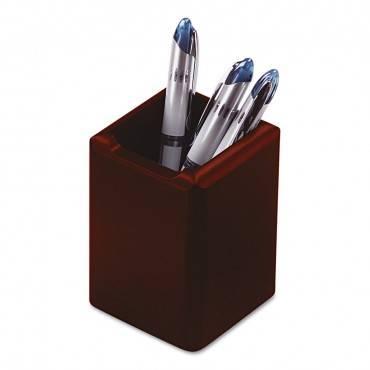 Wood Tones Pencil Cup, Mahogany, 3 1/8 X 3 1/8 X 4 1/2