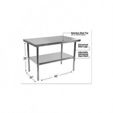 Nsf Approved Stainless Steel Foodservice Prep Table, 48w X 30d X 35h, Silver