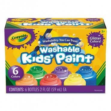 Crayola  WASHABLE PAINT, 6 COLORS, BLUE/GREEN/ORANGE/PURPLE/RED/YELLOW, 2 OZ 542400 1 Each