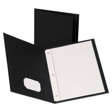 "Oxford  LEATHERETTE TWO POCKET PORTFOLIO WITH FASTENERS, 8 1/2"" X 11"", BLACK, 10/PK 57776 10 package"