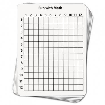 Math Dry Erase Whiteboard, 9 X 12, Grid, 10/pack