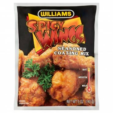 Williams, Spicy Wings Seasoned Coating Mix - Case Of 12 - 5 Oz