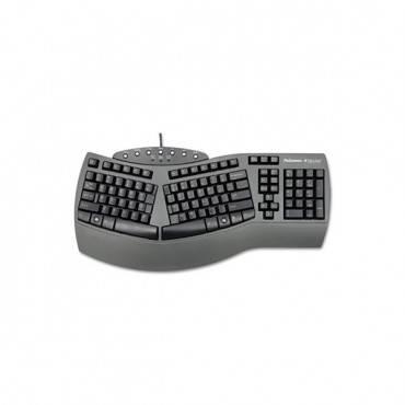 Ergonomic Split-Design Keyboard W/antimicrobial Protection, 105 Keys, Black