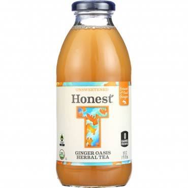 Honest Tea Tea - Organic - Glass Bottle - Ginger Oasis Herbal - 16 oz - case of 12