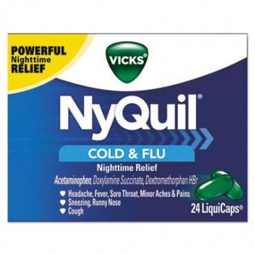 Nyquil Cold & Flu Nighttime Liquicaps, 24/box, 24 Box/carton