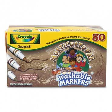 Crayola  Washable Markers, Conical Point, Eight Multicultural Colors, 80/pack CYO588217 80 Set