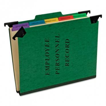 Hanging Style Personnel Folders, 1/3-cut Tabs, Center Position, Letter Size, Green