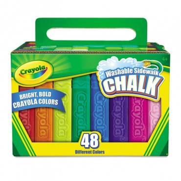 Washable Sidewalk Chalk, 48 Assorted Bright Colors, 48 Sticks/set
