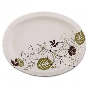 Pathways Heavyweight Oval Platters, 8 1/2 X 11, Green/burgundy, 125/pack