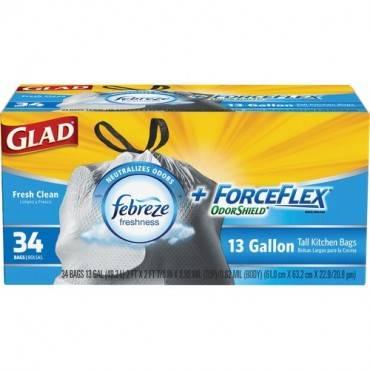 Glad ForceFlexPlus Tall Kitchen Drawstring Trash Bags (BX/BOX)