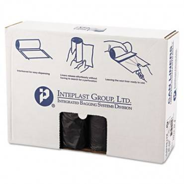 """High-density Interleaved Commercial Can Liners, 45 Gal, 12 Microns, 40"""" X 48"""", Black, 250/carton"""