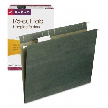 Hanging Folders, Letter Size, 1/5-cut Tab, Standard Green, 25/box