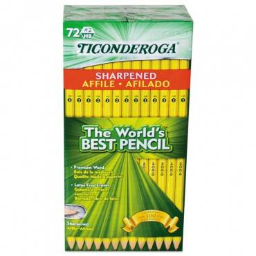 Ticonderoga  Pre-Sharpened Pencil, Hb #2, Yellow, 72/pack 13972 72 package