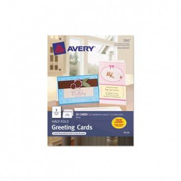 Half-fold Greeting Cards, Inkjet, 5 1/2 X 8 1/2, Matte White, 20/box W/envelopes