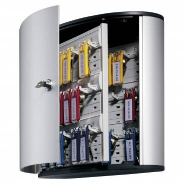 Locking Key Cabinet, 36-key, Brushed Aluminum, Silver, 11 3/4 X 4 5/8 X 11