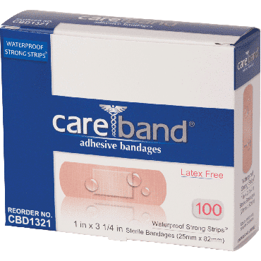 "Careband waterproof bandage strip with island pad, 1"" x 3-1/4"" part no. cbd1321012000 (100/box)"