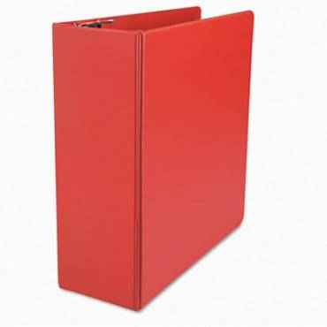 "Deluxe Non-view D-ring Binder With Label Holder, 3 Rings, 4"" Capacity, 11 X 8.5, Red"