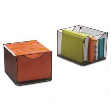 Onyx Mesh Cube Bins, 12 1/2w X 14d X 10h, Black, 2/pack