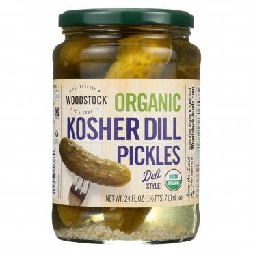 Woodstock Organic Pickles - Kosher Dill - Whole - Case Of 6 - 24 Oz.