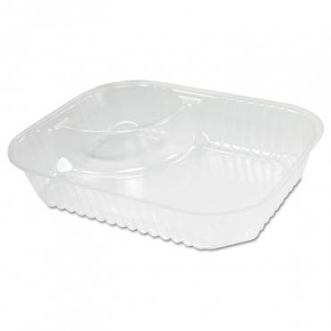 Clearpac Large Nacho Tray, 2-compartments, Clear, 500/ctn
