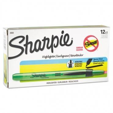 Retractable Highlighters, Chisel Tip, Fluorescent Green, Dozen