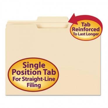 Reinforced Tab Manila File Folders, 1/3-cut Tabs, Center Position, Letter Size, 11 Pt. Manila, 100/box