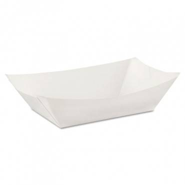 Kant Leek Polycoated Paper Food Tray, 3 Pound, White, 250/pack